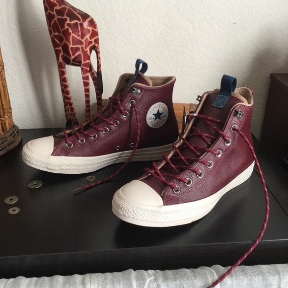 Converse all star burgundy leather high tops 3df59addd